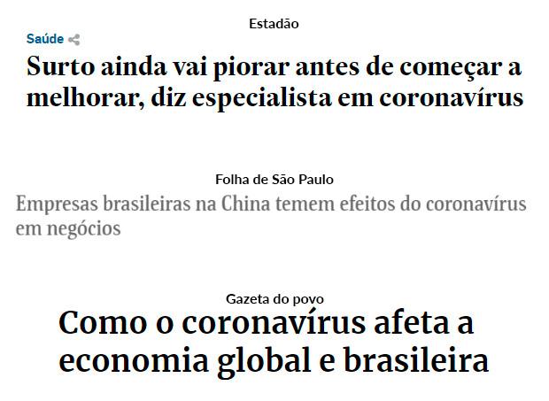 Notícias sobre o Coronavírus