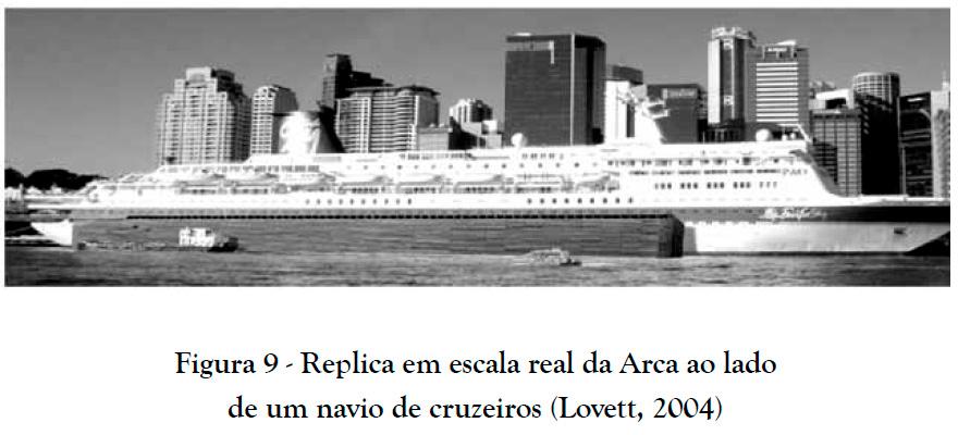 Réplica em escala real da Arca ao lado de um navio de cruzeiros (Lovett, 2004)