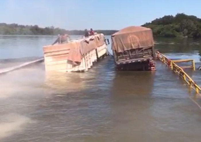 Caminhões afundam durante travessia no rio das Mortes – Foto: Pedro Silvestre/Canal Rural