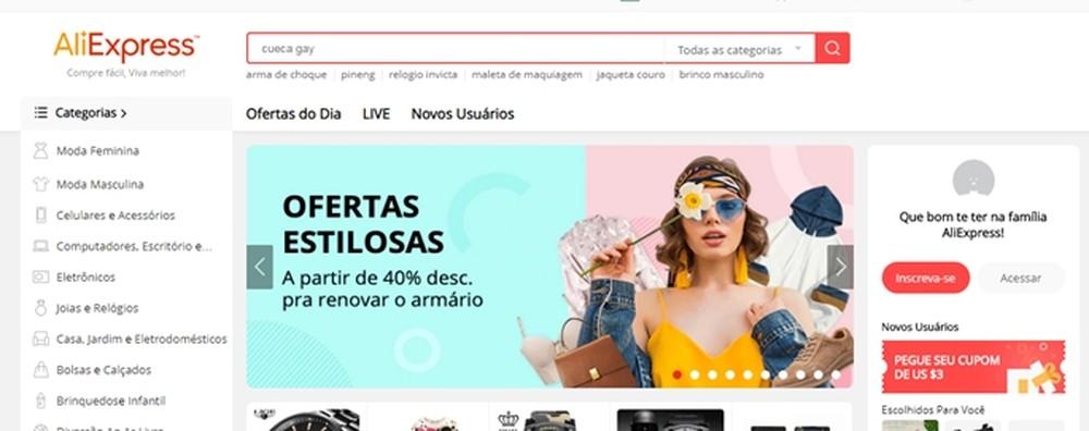 O AliExpress é o site de compras internacionais favorito dos brasileiros — Foto: Reprodução/Mirella Stivani