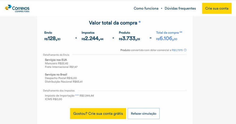 Simulação da compra de um iPhone XS no Compra Fora, novo serviço dos Correios — Foto: Reprodução/TechTudo